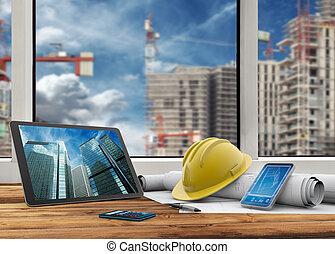 manager's, bouwterrein, kantoor