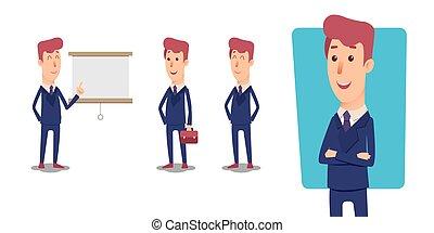 managers., ensemble, bureau, character., vecteur, homme affaires, dessin animé