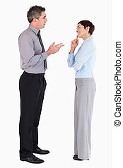 Managers talking to each other against a white background