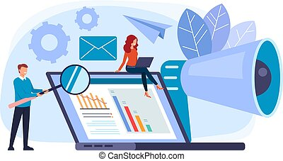 Managers workers character working team. PR digital management concept. Vector flat graphic design cartoon illustration