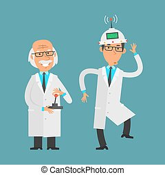 manages, sien, vieux, aide, scientifique, utilisation, manche balai
