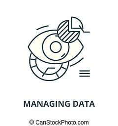 Managing data vector line icon, linear concept, outline sign, symbol