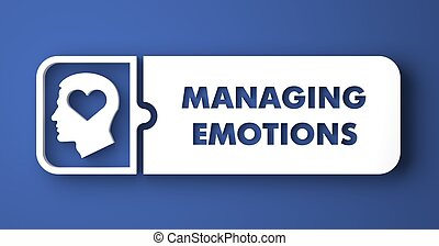 Managing Emotions Concept. White Button on Blue Background in Flat Design Style.