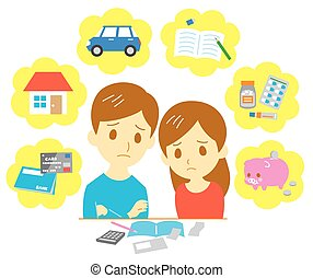 Managing family finances, expenditure, couple, vector file