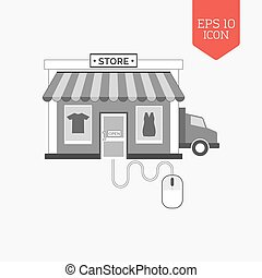 Managing online shop concept icon. Flat design gray color symbol. Modern UI web navigation, sign.