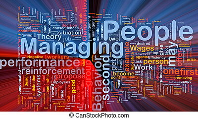Managing people background concept glowing - Background...