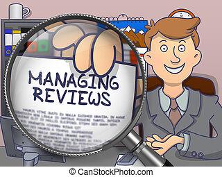 Managing Reviews through Magnifying Glass. Doodle Design.