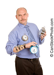 Managing time - Mature business man standing with several...