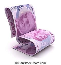 Managing Turkish Lira (Isolated on white background)