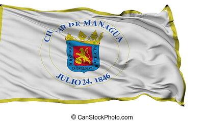 Managua City Isolated Waving Flag - Managua Capital City...