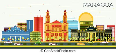 Managua Nicaragua Skyline with Color Buildings and Blue Sky. Vector Illustration. Business Travel and Tourism Concept with Modern Architecture. Managua Cityscape with Landmarks.