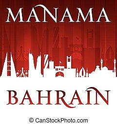 Manama Bahrain city skyline silhouette red background