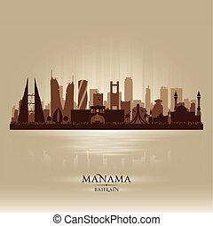 Manama Bahrain city skyline vector silhouette illustration