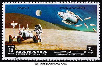 MANAMA - CIRCA 1972: a stamp printed in the Manama, Bahrain shows Astronaut and Lunar Rover, Apollo 15, Mission to the Moon, circa 1972