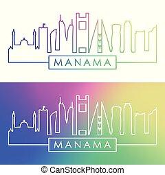 manama, skyline., barwny, linearny, style.