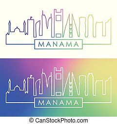 Manama skyline. Colorful linear style.