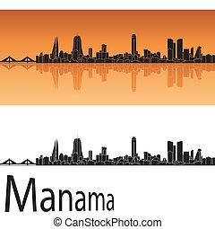 Manama skyline in orange background in editable vector file
