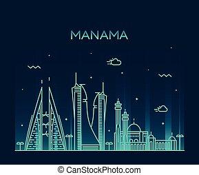 Manama skyline silhouette vector linear style - Manama ...