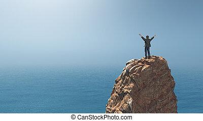 mananseende, på topp om, a, rock klippa