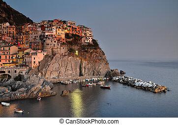 Manarola, Cinque Terre in Italy - A view of Manarola, one of...