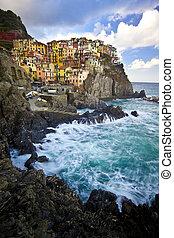 Manarola fisherman village in Cinque Terre, Italy - Manarola...
