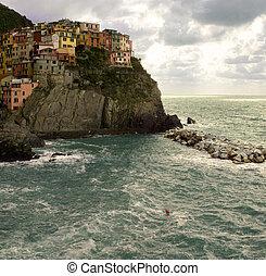 Manarola, Italy is part of the Cinque Terra region of...