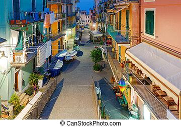 Manarola. Old street at night. - The old, narrow street in ...