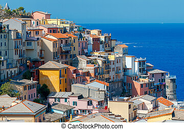 Manarola. The famous medieval village with colorful houses....