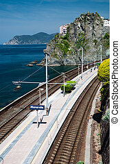 Manarola village and train station