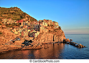 Manarola Village at Sunset, Cinque Terre, Italy