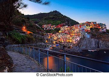 Manarola village at twilight, Cinque Terre, Italy