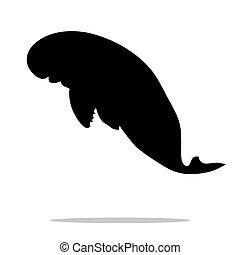 Manatee mammal sea black silhouette animal. Vector...
