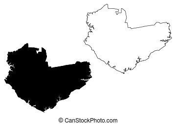 Manaus City (Federative Republic of Brazil, Amazonas State) map vector illustration, scribble sketch City of Manaus map