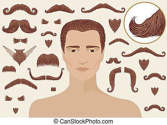man.big, isolato, collezione, disegno, baffi, barbe