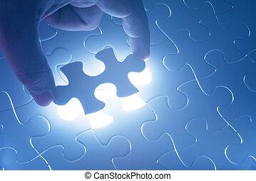 mancante, jigsaw confondono, pezzo, con, luce, splendore