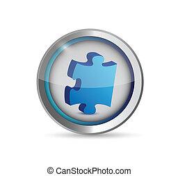 mancante, puzzle, button., illustrazione, disegno, pezzo