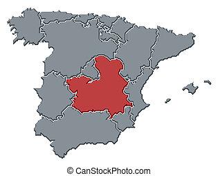 mancha, mapa, highlighted, hiszpania, castile-la