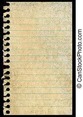 manchado, antigas, rasgado, isolado, experiência., notepaper, pretas, sujo, página branco