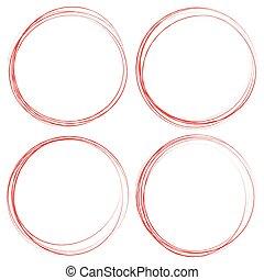 manchado, círculos, el destacar, elements., grungy, sketchy, textured, círculo