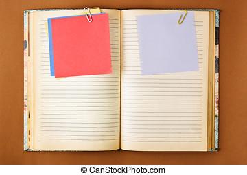 manchado, caderno, antigas, páginas
