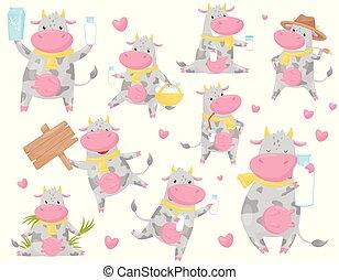 manchado, cute, diferente, animal, vaca, engraçado, jogo, situações, personagem, ilustração, caricatura, fazenda, vetorial, fundo, branca, sorrir feliz
