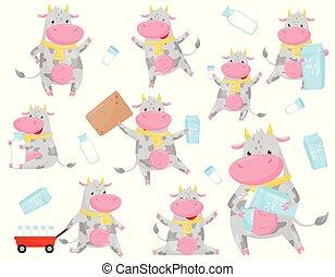manchado, cute, diferente, animal, vaca, engraçado, jogo, situações, personagem, ilustração, caricatura, fazenda, vetorial, fundo, branca, leite