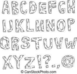 manchado, desenhado, mão, alfabeto