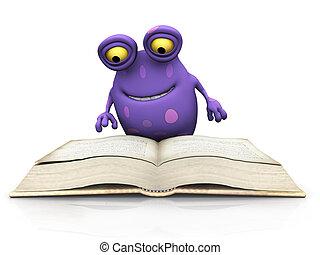 manchado, grande, lectura, monstruo, book.