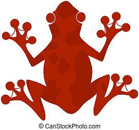 manchado, logotipo, silueta, rana roja