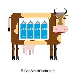 manchado, milk., natural, vaca, product., ilustración,...