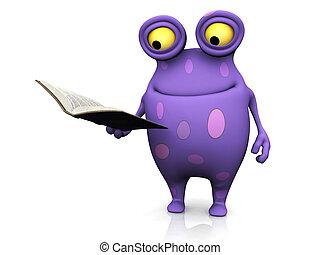 manchado, monstruo, tenencia, book.