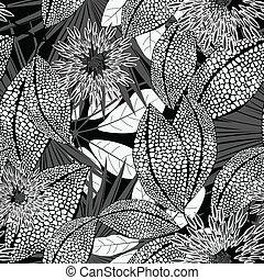 manchado, patrón, seamless, tropical, negro, flores blancas