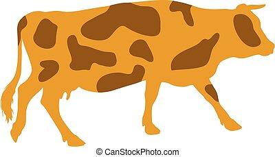 manchado, Siluetas,  vector, vaca, Ilustración