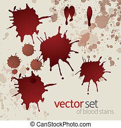 manchas, 3, conjunto, salpico, sangre